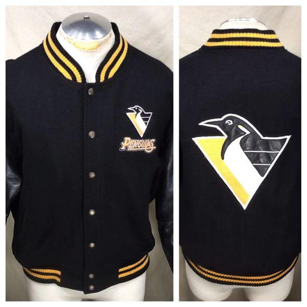Vintage Carl Banks Pittsburgh Penguins Hockey (Med) Retro NHL Button Up Letterman Jacket