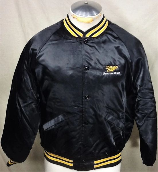 vintage 80's King Louie Miller Genuine Draft (Med) Retro Snap Up Satin Jacket Black