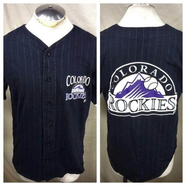 Vintage 1992 Colorado Rockies Baseball (Med) Retro MLB Pinstripe Button Up Graphic Jersey