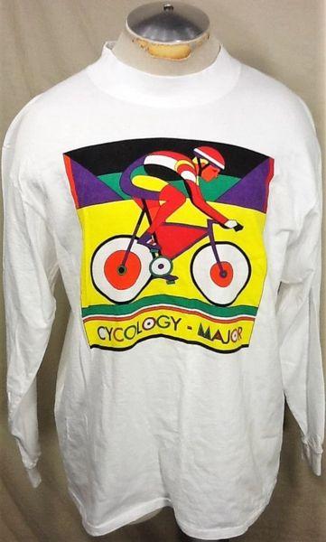 "Vintage Cycling Apparel ""Cycology Major"" (Large) Retro Graphic Long Sleeve Biking T-Shirt"
