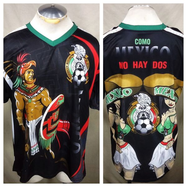 Retro Mexico Federation Association Futbol (XL) Dri-Fit All Over Graphic Black Soccer Jersey