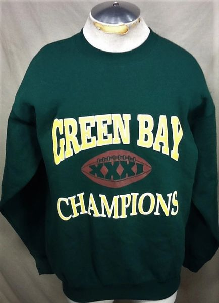 "Vintage 1997 Green Bay Packers ""Super Bowl Champs"" (Large) Retro NFL Football Crew Neck Sweatshirt"
