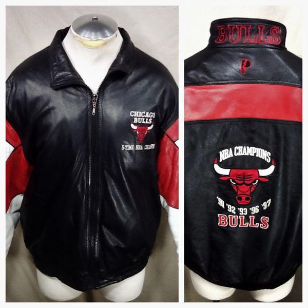 "Vintage 90's Chicago Bulls ""5-Time NBA Champs"" (Large) Retro NBA Zip Up Embroidered Leather Jacket"