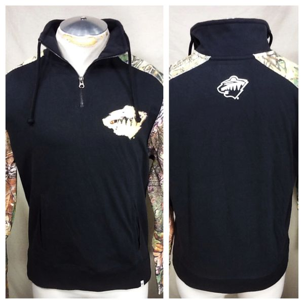 Retro Minnesota Wild Hockey Club (Small) NHL 1/4 Zip Pullover Sweatshirt W/Camo Sleeves