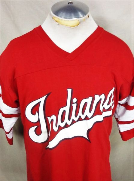 Vintage 90's Logo 7 Indiana Hoosiers (Med/Large) Retro NCAA Graphic Striped Sleeve T-Shirt