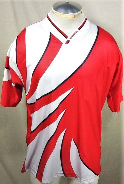 Vintage Puma Soccer #2 (Large) Retro Nylon Pullover Multi-Color Futbol Jersey Red/White