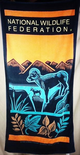 Vintage 90's National Wildlife Federation Retro Graphic Beach Towel Wall Art