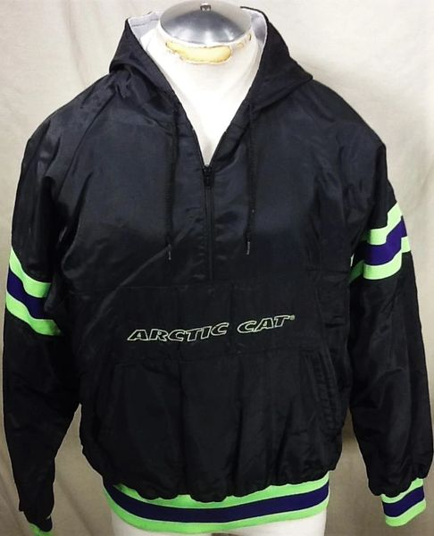 Vintage Arctic Cat Snowmobiles (Large) Pullover 1/2 Zip Up Hooded Jacket