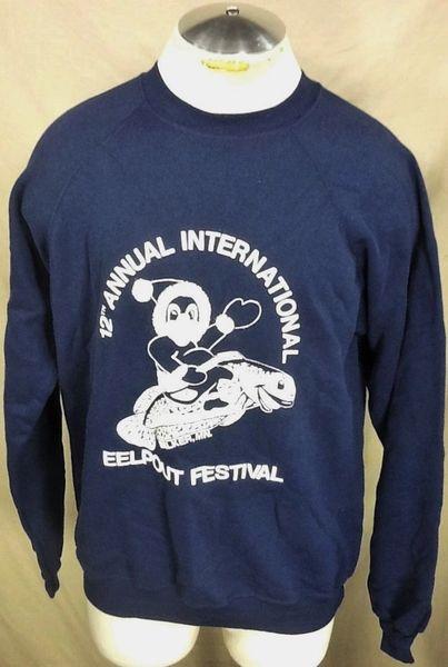 Vintage 1997 12th Annual Eel Pout Festival (Large) Retro Crew Neck Graphic Sweatshirt