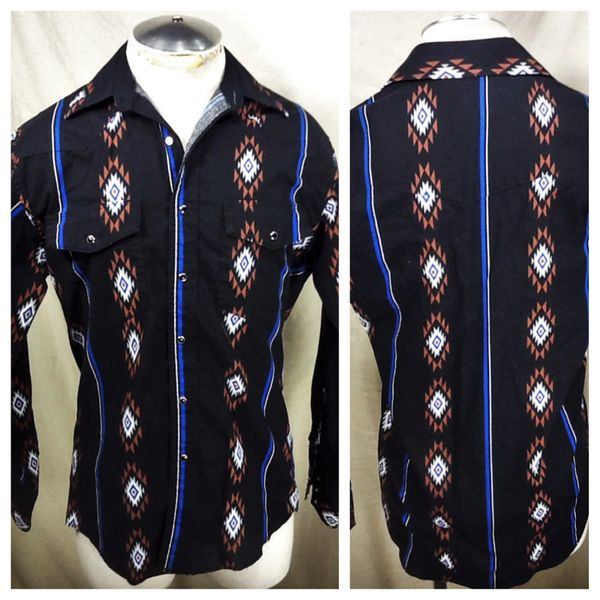 Vintage 90's Wrangler Western Wear (Med) Retro Country Long Sleeve Pearl Snap Up Shirt