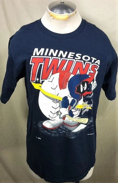 "Vintage 1993 Minnesota Twins Baseball Club (Large) Marvin The Martian ""The Universal Game"" Retro T-Shirt"