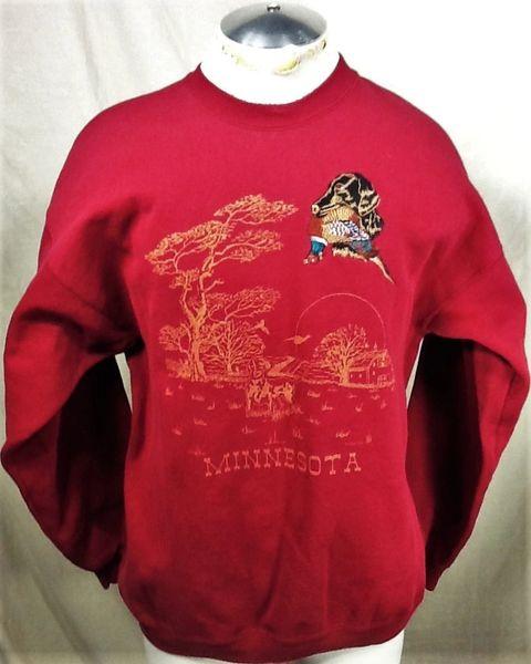 "Vintage 1994 Minnesota Hunting ""Retriever"" (XL) Retro Outdoorsman Graphic Crew Neck Sweatshirt"