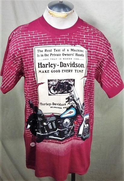 "Vintage 1995 Harley Davidson ""Make Good Every Time"" (Large) Retro Graphic Motorcycle T-Shirt"
