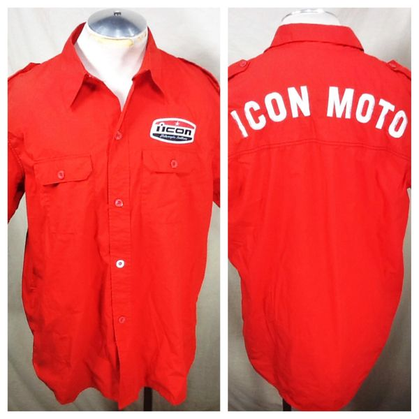 Icon Motorcycle Leathers (XL) Button Up Style Work Shop Shirt