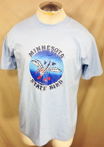 "Vintage 90's Minnesota ""State Bird"" (Large) Retro Funny Mosquito Graphic T-Shirt"