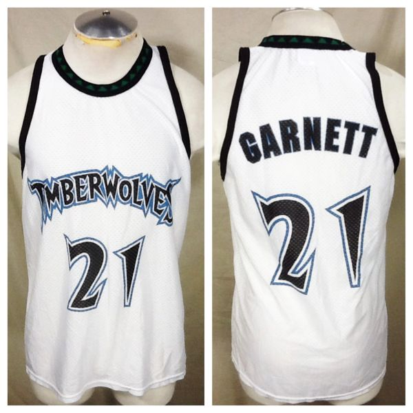 Vintage Minnesota Timberwolves Kevin Garnett #21 (Med/Large) Retro NBA Wolves Basketball Jersey White