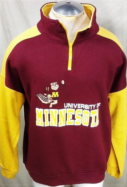 Vintage 80's University of Minnesota Golden Gophers (Large) Retro NCAA 1/4 Zip Up Graphic Sweatshirt