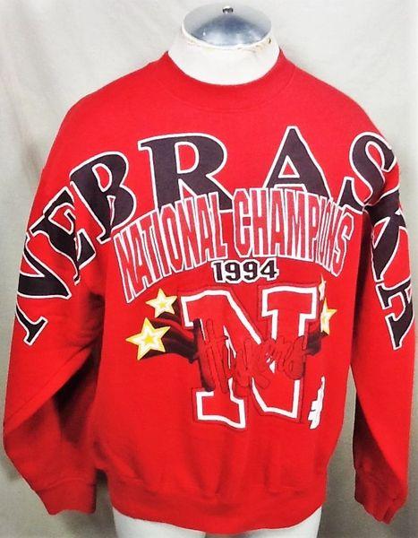 Vintage 1994 University of Nebraska Cornhuskers (XL) Retro NCAA National Champions Crew Neck Sweatshirt
