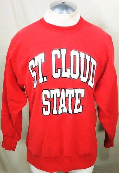 Vintage 90's Champion St. Cloud State Huskies (L/XL) Retro NCAA Reverse Weave Crew Neck Sweatshirt