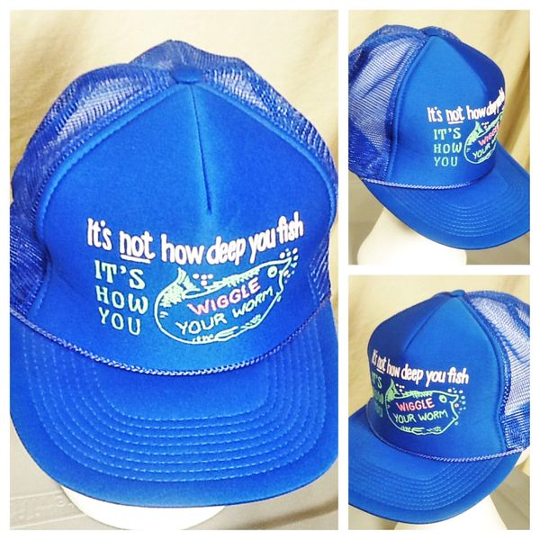 "Vintage 90's Outdoorsman ""Wiggle Your Worm"" Retro Fishing Outdoorsman Snap Back Trucker Hat"