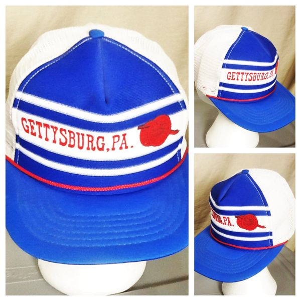 Vintage 90's Gettysburg Civil War Retro Tourism Graphic Snap Back Trucker Hat