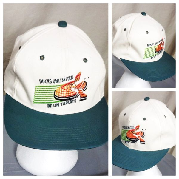 "Vintage 90's Ducks Unlimited ""Be On Target"" Retro Hunting Graphic Advertising Snap Back Hat"