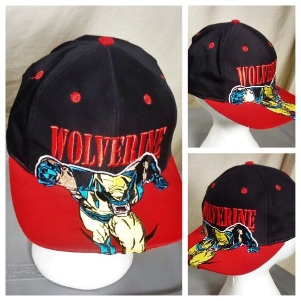 "Vintage 90's Marvel Comics ""Wolverine"" Iconic Cartoon Embroidered Snap Back Hat"