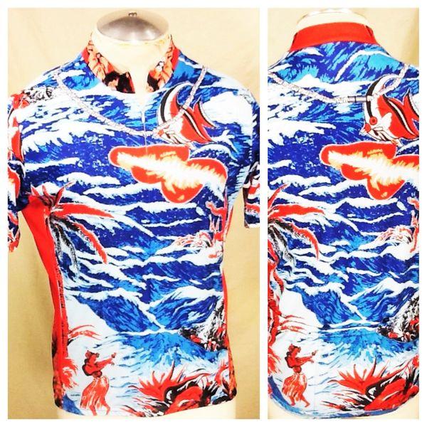 "Performance Cycling Team ""Hawaiian Print"" (Large) Retro All Over Graphic Blue Biking Jersey"