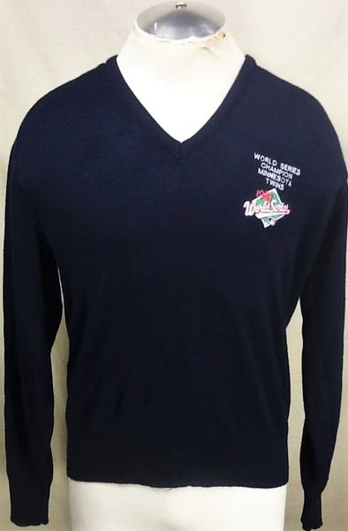 "Vintage 1987 Logo 7 Minnesota Twins (XL) ""World Series Champions"" V-Neck Sweater"