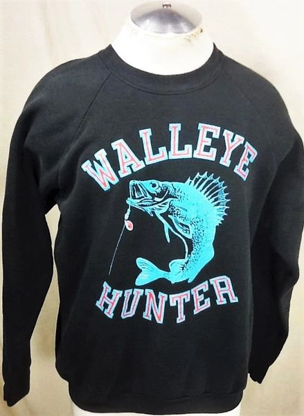 "Vintage 90's Fishing ""Walleye Hunter"" (Large) Retro Outdoorsman Crew Neck Sweatshirt"