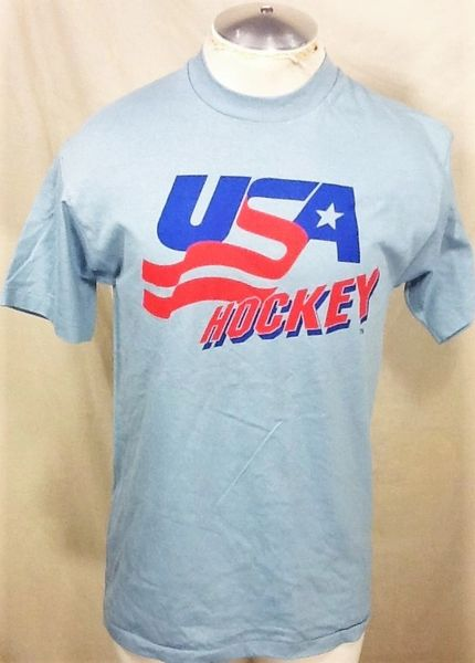 Vintage 90's Team USA Hockey (Med) Retro Olympics Games Fan Wear Graphic Blue T-Shirt