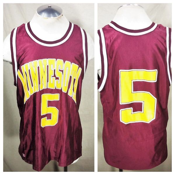 Vintage 90's Dodger Minnesota Gophers #5 (L/XL) Retro NCAA Graphic Basketball Jersey