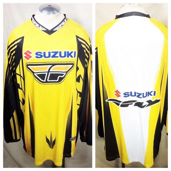 "Vintage Suzuki Team ""Fly Racing"" (2XL/3XL) Retro Gear Heads Pullover Long Sleeve Racing Jersey"
