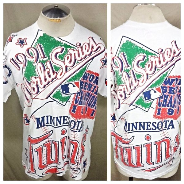"Vintage 1991 Minnesota Twins Baseball ""World Series"" (Large/XL) Retro MLB All Over Graphic White T-Shirt"