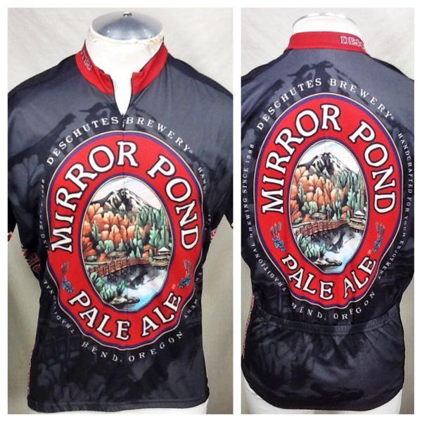 "World Jerseys ""Mirror Pond Pale Ale"" (XL) Retro Deschutes Brewery 3/4 Zip Up Cycling Jersey"