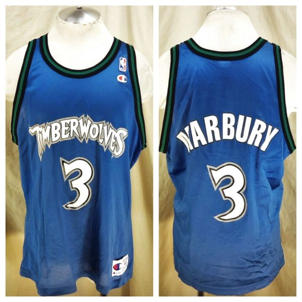 Vintage 90's Champion Minnesota Timberwolves Stephon Marbury #3 (48/XL) Retro Wolves NBA Basketball Jersey