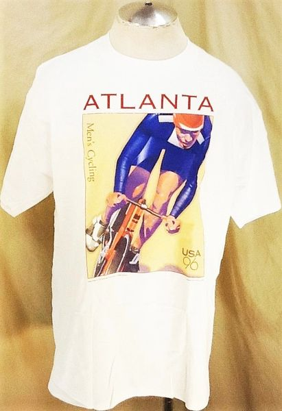"Vintage 1996 Team USA Cycling (L/XL) Retro Atlanta Olympics ""Men's Cycling"" Graphic T-Shirt"