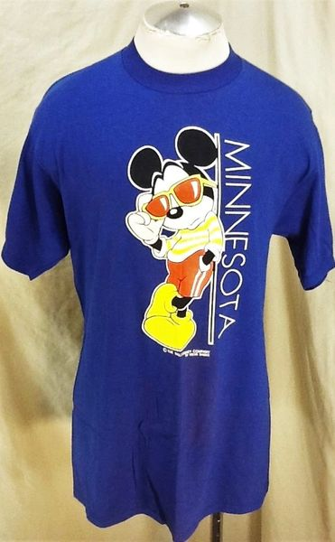 "Vintage 80's Velva Sheen Mickey Mouse ""Minnesota"" (Large) Retro Walt Disney Graphic T-Shirt"