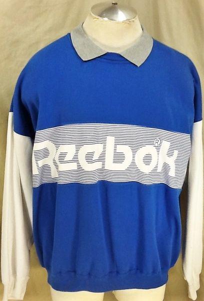 Vintage 90's Reebok Active Wear (XL) Retro Striped Big Logo Graphic Crew Neck Sweatshirt