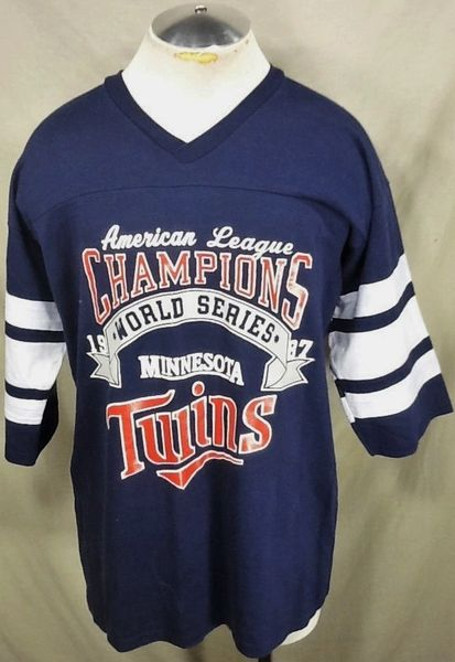 "Vintage 1987 Logo 7 Minnesota Twins ""League Champs"" (XL) Retro MLB Baseball Graphic T-Shirt"
