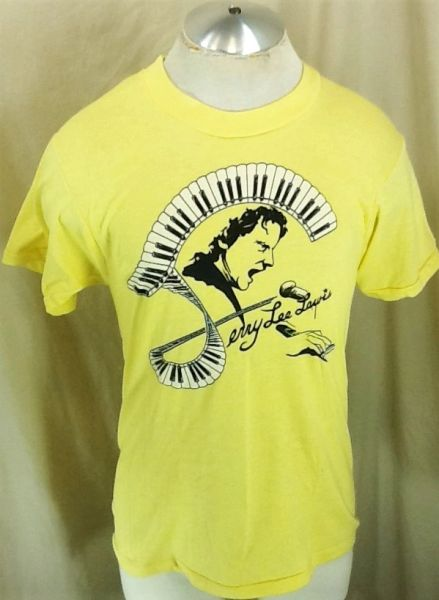 "Vintage 1980's Jerry Lee Lewis ""Piano Keys"" (Large) Graphic Rockabilly Concert T-Shirt"