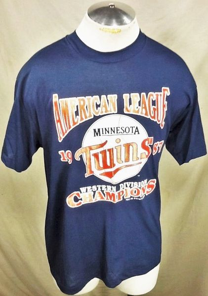 "Vintage 1987 Minnesota Twins ""League Champions"" (Large) Retro MLB Graphic T-Shirt"