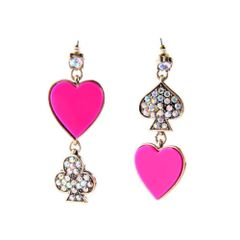 Vintage Gold Fashion Boutique Unique Hot Pink Lady Love Heart Drop Earring