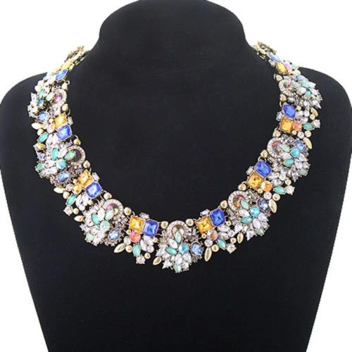 Crystal Collar Necklace Rainbow Gem Statement