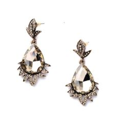 Crystals Gems Stone Drop Earrings Pink, Clear, and Gold