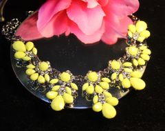 Yellow Crystal Accents Statement Necklace