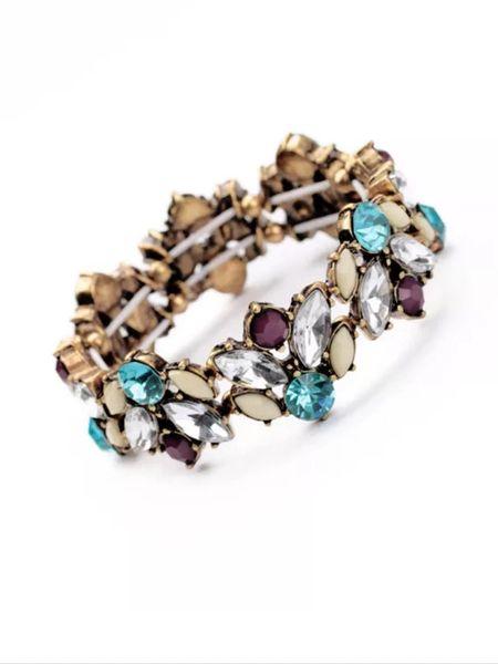 Vintage style multi color crystal bridal style brass bracelet