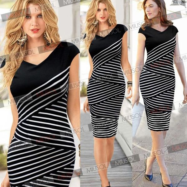 Black and White Business Wiggle Dress