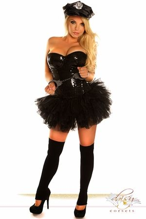 4 PC Black Sequin Pin-Up Cop Costume