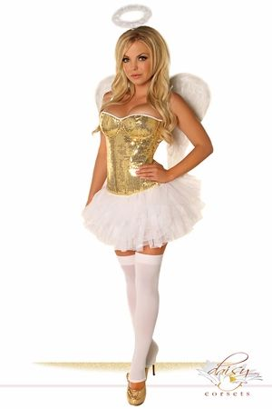 4 PC Gold Sequin Angel Costume